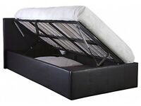 Double bed with storage side lift and memory foam mattress