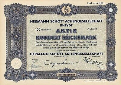 Herrmann Schött AG Rheydt historische Aktie 1936 Mönchengladbach Druckerei NRW