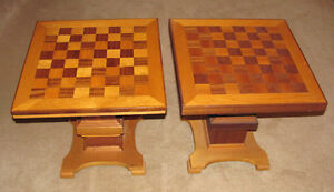 pair of vintage handmade wooden chessboard top tables
