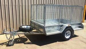 7X5 COMMERCIAL GALVANISED SINGLE AXLE TRAILER WITH CAGE BRAKES & RAMPS Pooraka Salisbury Area Preview