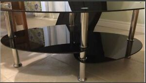 Coffee table - Black glass/Metal