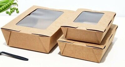 Disposable Lunch Boxto-go Lunch Box With Window Paper Boxes X 200 Pieces 11