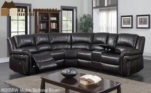 BROWN AIREHYDE 3PCS MOTION SECTIONAL (MA371)