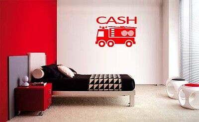 Truck Kids Decor (BOYS FIRE TRUCK PERSONALIZED NAME VINYL WALL DECAL LETTERING KIDS ROOM)