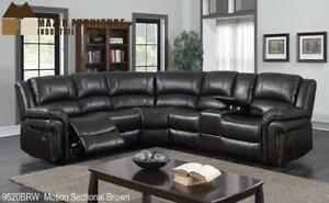 Sectional Recliner in Brown Leather - Big Sale (BD-2467)