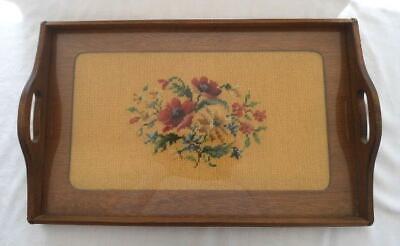 Vintage Wood Serving Tray Needlepoint Embroidery Teak Walnut Handled Yellow Gold