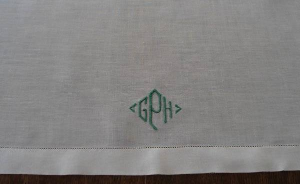 Vintage Linen Table Runner Green Embroidered Monogram GPH Hemstitch 39""