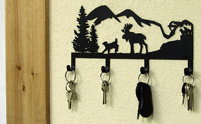 MOOSE KEY HOLDER NORTHWOODS MOUNTAIN CABIN RUSTIC LODGE METAL ART WALL DECOR