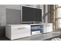 TV Unit Stand With LED Lights Available in Black or White Gloss BRAND NEW