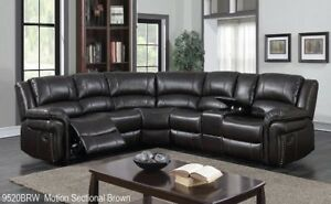 BRAND NEW Motion Sectional in Brown Airehyde Leather ON SALE