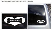 Collant vinyle chien CHIHUAHUA pour voiture 7x3pouces