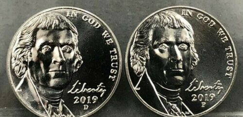 2019 P & D JEFFERSON NICKELS---DIRECT FROM MINT SETS---1 EACH P & D
