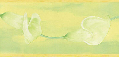 Brewster Yellow, Green Calla Lily Floral Trail Wallpaper Border - 149B01541