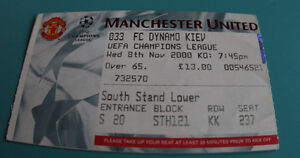 OLD TICKET CL Manchester United England Dynamo Kiev Ukraine - Poznan, Polska - OLD TICKET CL Manchester United England Dynamo Kiev Ukraine - Poznan, Polska