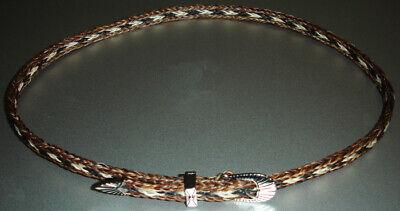 Western Decor Cowboy HAT BAND 5 Strand Brown/Black/White Horsehair Buckle Design
