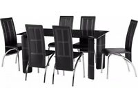 Lovely BRAND NEW glass dining table with 6 chairs. can deliver