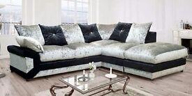 New calvin crushed velvet corner sofa