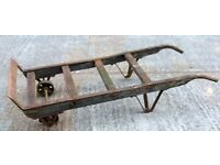 Shabby Garden Feature Vintage Oak and Iron Porter's Luggage Platform Trolley