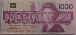 $1000 dollar bills Bank of Canada Notes Paper Money (1954/1988)