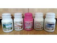 Large Yankee candles glittered