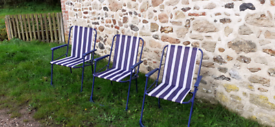 10 Blue And White Stripe Camping Chairs
