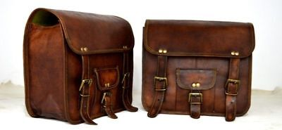 Used, Motorcycle Side Pouch Brown Leather Side  2 Bag Pouch Saddlebags Panniers Saddle for sale  Shipping to United States