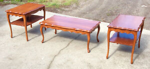 Vintage 3 piece French Provincial coffee table set