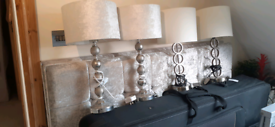 4 Silver/Nickel table lamps with lampshades