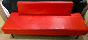 Red leather mid-century modern couch/daybed