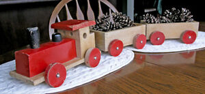 Wood Pull Train (Engine Two Cars) Christmas Xpress