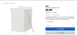 IKEA Laundry bag JÄLL; with stand, white