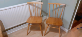 Pair Vintage Ercol Stick Back Chairs