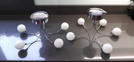 Two halogen 5 spoke light fittings