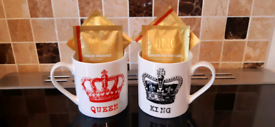 Brand new set of 'King and Queen' mugs + 4x luxury JING tea bags