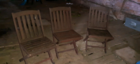 3 solid wooden scancraft chairs and garden table