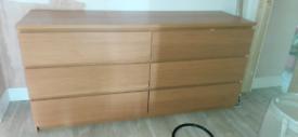 Oak IKEA Malm Drawers