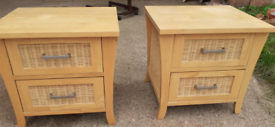 Ikea Light wood two drawer bedroom chests with wicker fronts