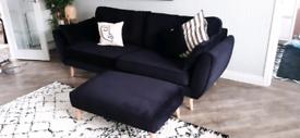 4 seater velvet sofa and foot stool