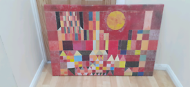Abstract canvas artwork 70x100cm Sun and City