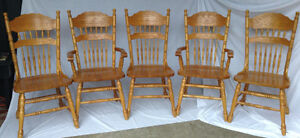 Five Pressed Back Chairs