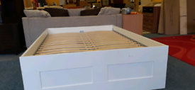 White ikea double bed frame with drawers
