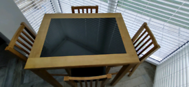 Dining Table & Chairs/Bar Stools (4 off chairs)