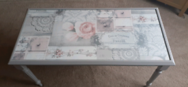 Gorgeous romantic style shabby chic unique coffee table, grey, French