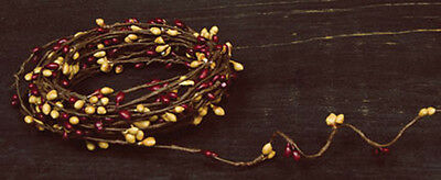 Primitive Pip Berry Garland ~ 18ft single ply roping ~ Burgundy & Old Gold Mix
