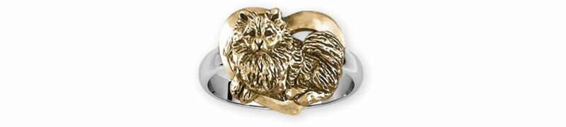 Keeshond Jewelry Silver And 14k Gold Handmade Keeshond Ring  KSH1-TNR