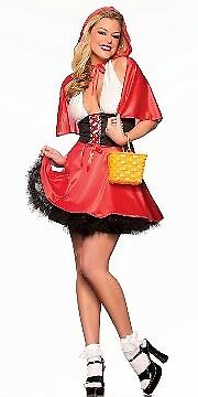 Fantasy Lingerie Lil' Red Rosie Costume KA68 Red/Black Small/Medium](Lil Red Costume)