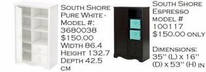 south shore  Wardrobes / Armoires final sale, *new boxed*