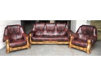 £2500 ox Blood Red leather / wood Chesterfield sofa set WE DELIVER UK