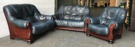 Blue Chesterfield leather sofa set can deliver