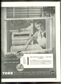 YORK Air Conditioning HEATING and Refrigeration 1953  ad ADVERTISEMENT